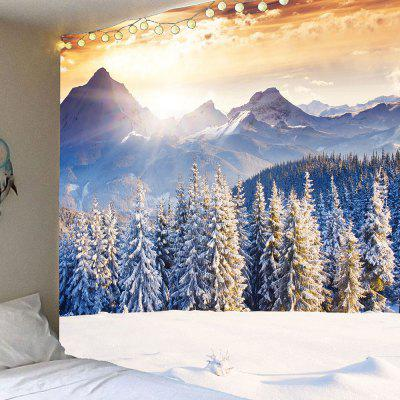 Buy LIGHT GOLD Snow Mountains Forest Hanging Wall Art Tapestry for $14.30 in GearBest store