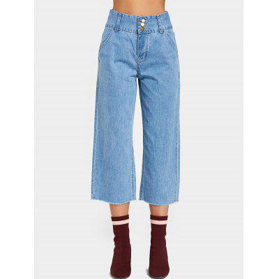 Buy DENIM BLUE M High Waisted Three Buttoned Wide Leg Jeans for $29.83 in GearBest store