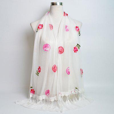Flower Bordado Tassel Lace Embellished Shawl Scarf