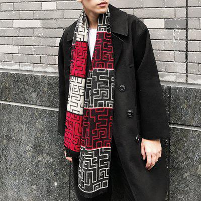 Fringed Scarf with Labyrinth Pattern