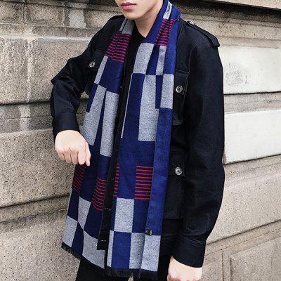 Color Block Fringed Scarf with Checked Pattern