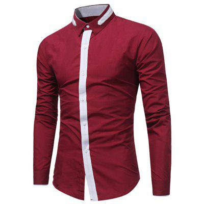 Buy WINE RED Turndown Collar Color Block Selvedge Embellished Shirt for $17.94 in GearBest store