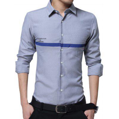 Buy GRAY Turndown Collar Graphic Print Stripe Pocket Shirt for $24.41 in GearBest store