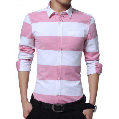 Buy LIGHT RED Turndown Collar Broad Stripe Shirt for $28.67 in GearBest store