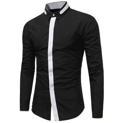 Buy BLACK Turndown Collar Color Block Selvedge Embellished Shirt for $17.94 in GearBest store