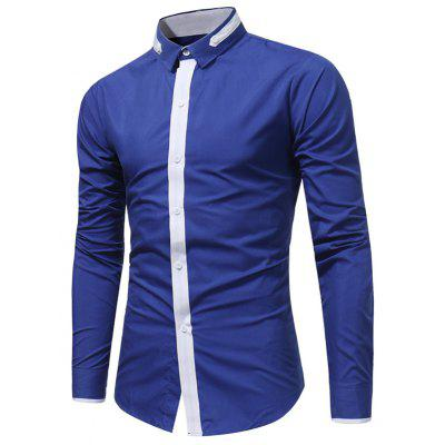 Buy ROYAL Turndown Collar Color Block Selvedge Embellished Shirt for $17.94 in GearBest store