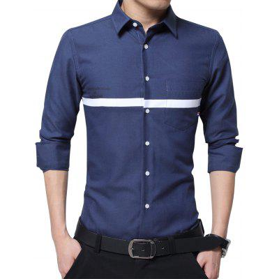 Buy DEEP BLUE Turndown Collar Graphic Print Stripe Pocket Shirt for $24.41 in GearBest store