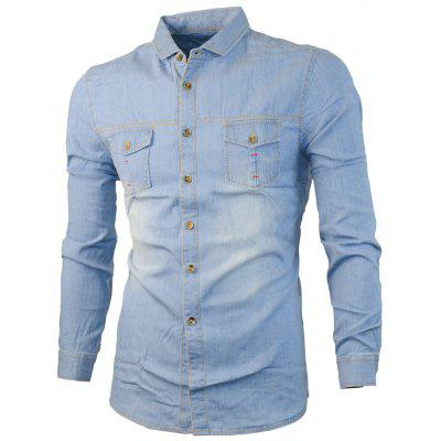 Buy LIGHT BLUE Two Chest Pocket Faded Denim Shirt for $24.88 in GearBest store