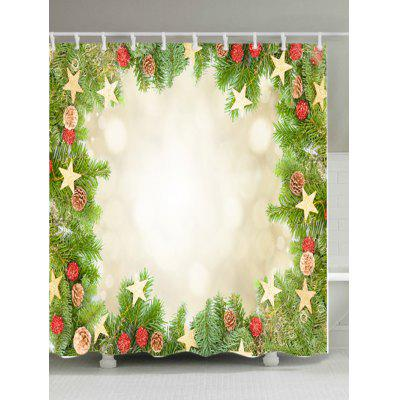 Christmas Tree Stars Print Fabric Waterproof Shower Curtain