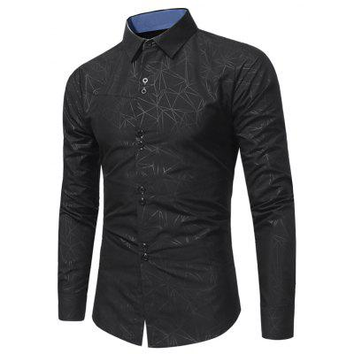 Buy BLACK Turndown Collar Geometric Print Shirt for $20.23 in GearBest store