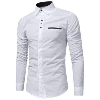 Buy WHITE Turndown Collar Plaid Edging Shirt for $17.66 in GearBest store