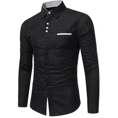 Buy BLACK Turndown Collar Plaid Edging Shirt for $17.66 in GearBest store