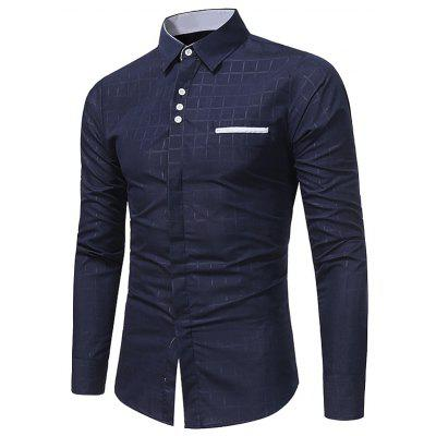 Buy CADETBLUE Turndown Collar Plaid Edging Shirt for $17.66 in GearBest store