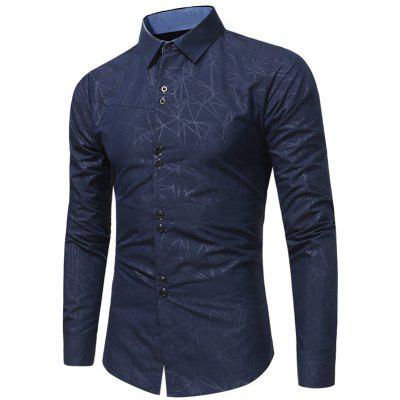 Buy CADETBLUE Turndown Collar Geometric Print Shirt for $20.23 in GearBest store