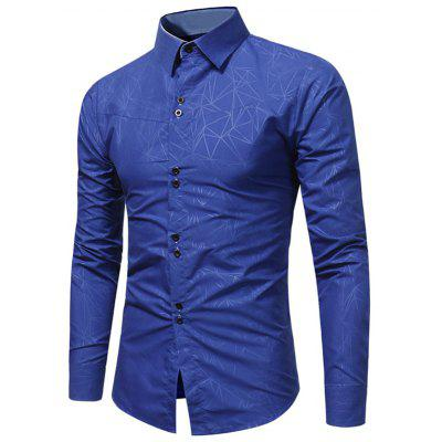 Buy ROYAL Turndown Collar Geometric Print Shirt for $20.23 in GearBest store