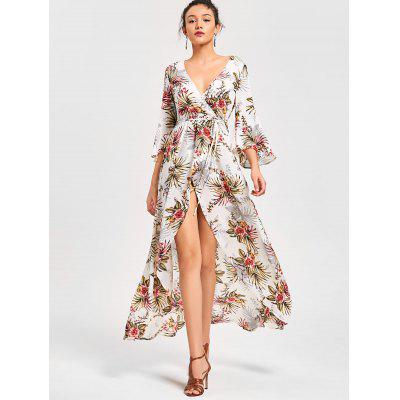 Floral Print High Split Flare Sleeve Surplice Dress