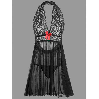 Buy BLACK XL Plunge Lace Open Back Babydoll for $18.69 in GearBest store
