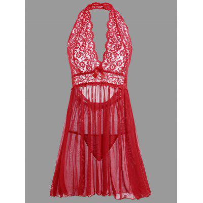 Buy RED M Plunge Lace Open Back Babydoll for $18.69 in GearBest store