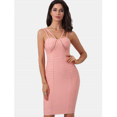Buy PINK M Mesh Panel Spaghetti Strap Bandage Dress for $55.29 in GearBest store