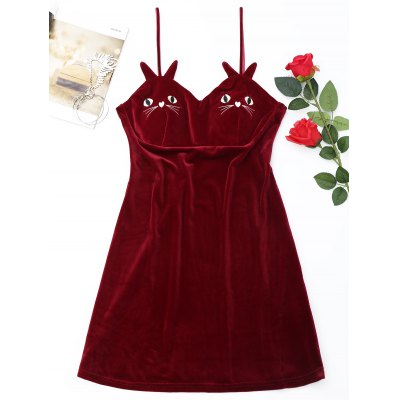 Buy RED XL Cat Embroidered Velvet Slip Babydoll for $27.09 in GearBest store