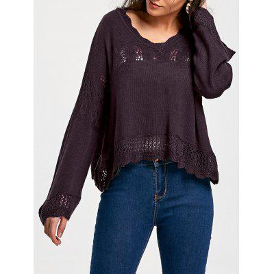 V Neck Hollow Out Sweater