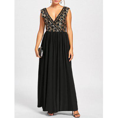 Buy BLACK M Sleeveless Plunging Neckline Maxi Dress for $28.21 in GearBest store