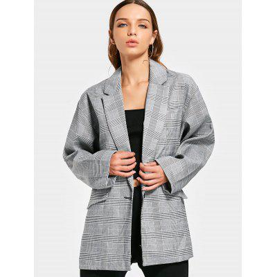 Buttoned Checked Long Sleeve Blazer