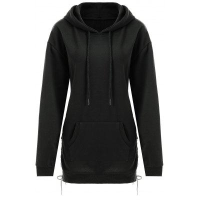 Plus Size Lace Up Drop Schulter Longline Hoodie
