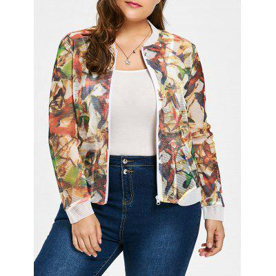 Plus Size Sheer Mesh Bird Print Jacket