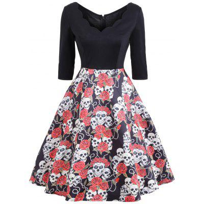 Halloween Floral Skull Print Vintage Dress