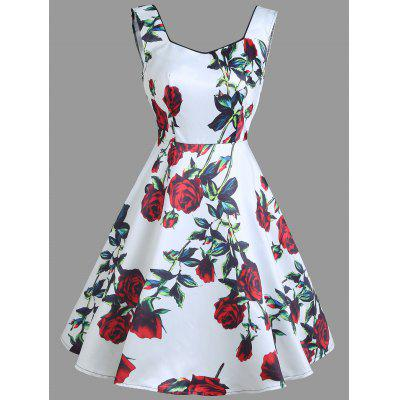 Vintage Floral Print Sleeveless Mini Dress