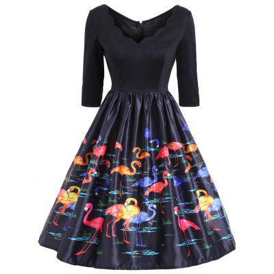 Flamingo Print V Neck Fit and Flare Vintage Dress
