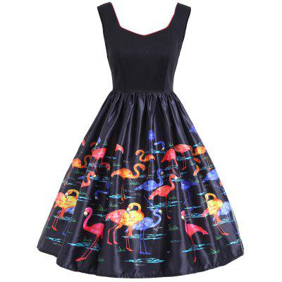 Flamingo Print Sleeveless Vintage Dress