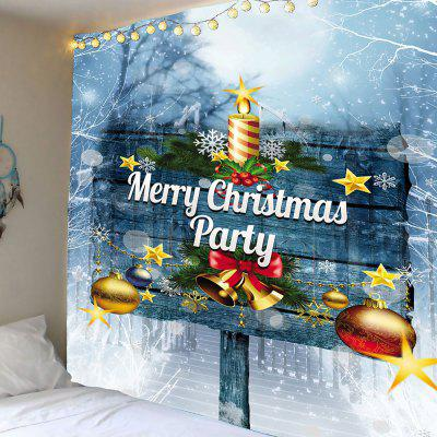 Merry Christmas Party Bells Sign Patterned Tapestry