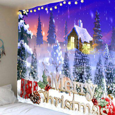 Merry Christmas Snowy Town Wall Art Hanging Tapestry