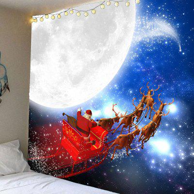Moon and Father Christmas Printed Waterproof Wall Hanging Tapestry