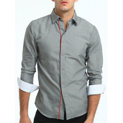 Turndown Collar Color Block Cover Placket Shirt