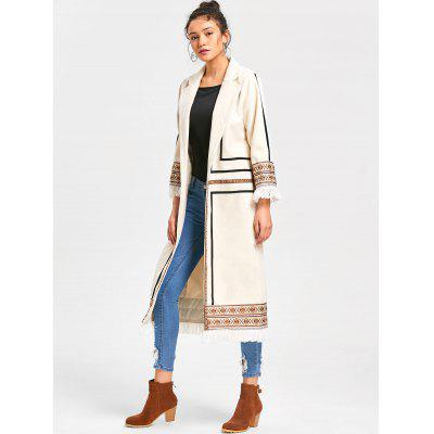 Tribal Print Fringe Longline CoatJackets &amp; Coats<br>Tribal Print Fringe Longline Coat<br><br>Collar: Notched Collar<br>Embellishment: Fringed<br>Material: Polyester, Spandex<br>Package Contents: 1 x Coat<br>Pattern Type: Others<br>Shirt Length: Long<br>Sleeve Length: Full<br>Style: Fashion<br>Type: Slim<br>Weight: 0.8700kg