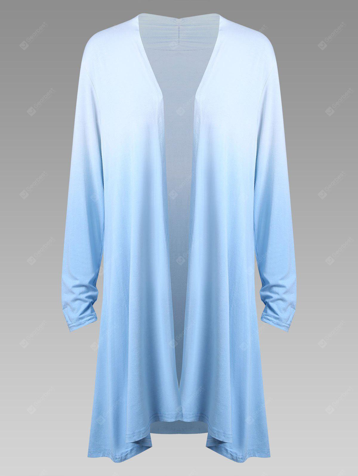 Plus Size Ombre Long Sleeve Open Front Duster Cardigan