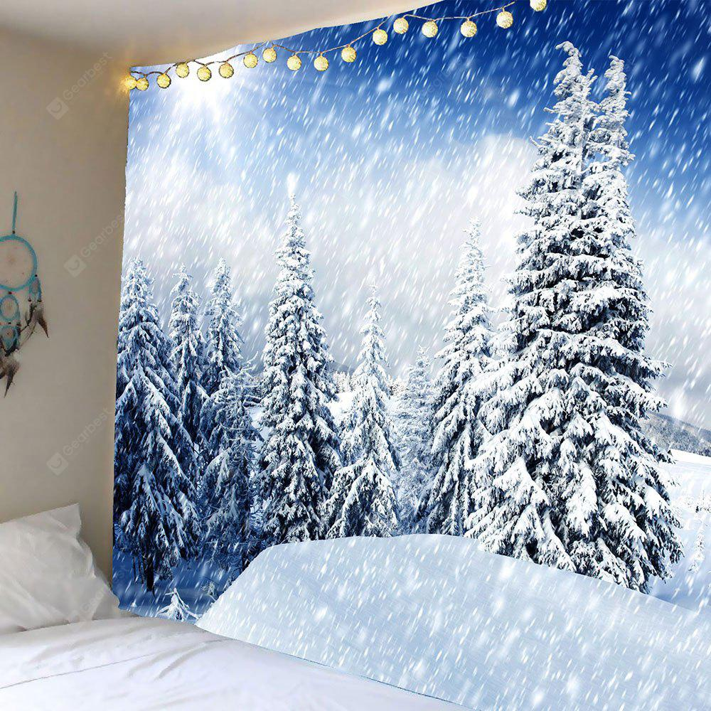 Hanging Whirling Snow Forest Patterned Wall Art Tapestry