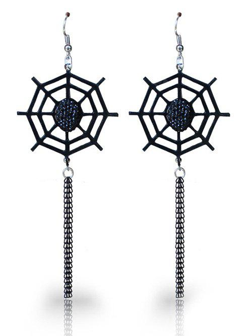 Spider Web Halloween Longline Fish Hook Earrings