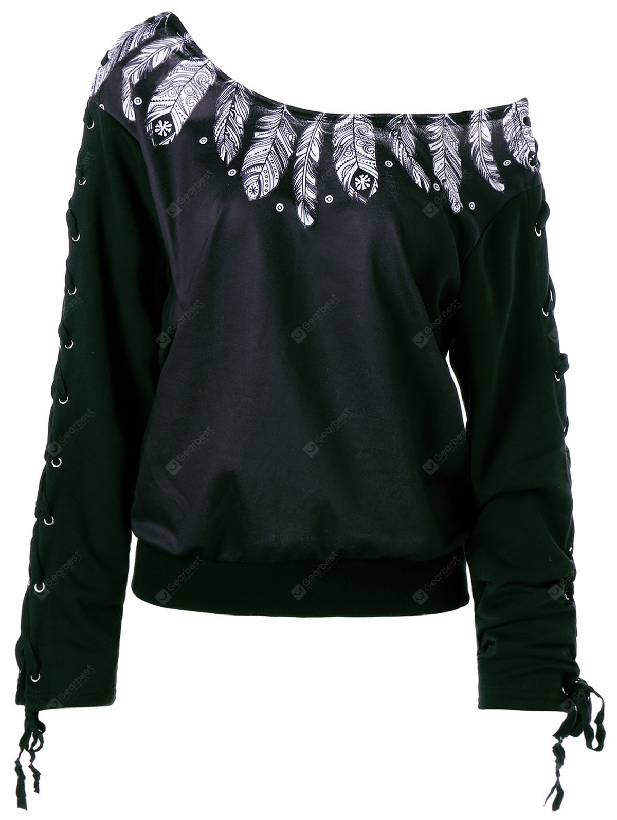 Lace Up Skew Neck Feather Print Sweatshirt