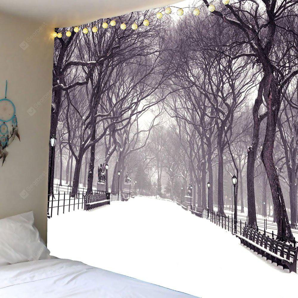 Snow Covering Road Trees Wall Art Tapestry