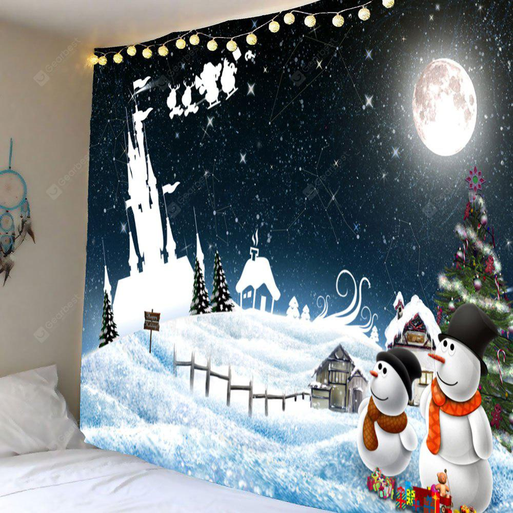 Moonlit Night Christmas Snowman Pattern Wall Hanging Tapestry