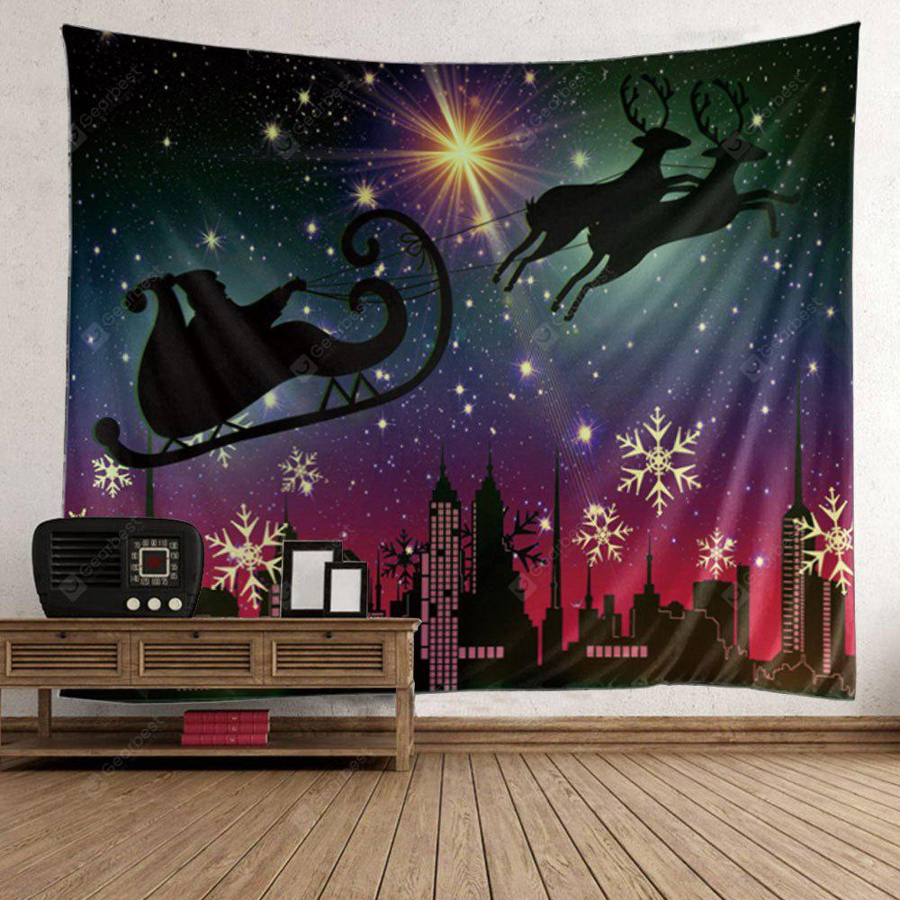 Starry Night Christmas Reindeer Cart Patterned Tapestry