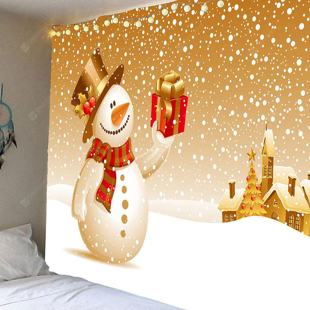 Christmas Snowman With Gift Patterned Wall Art Tapestry