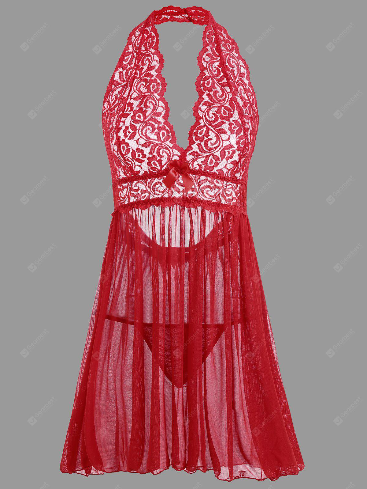 RED XL Plunge Lace Open Back Babydoll