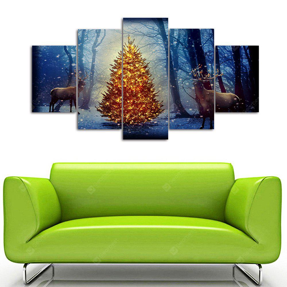 Árbol de Navidad Deer Print Unframed Canvas Split Paintings