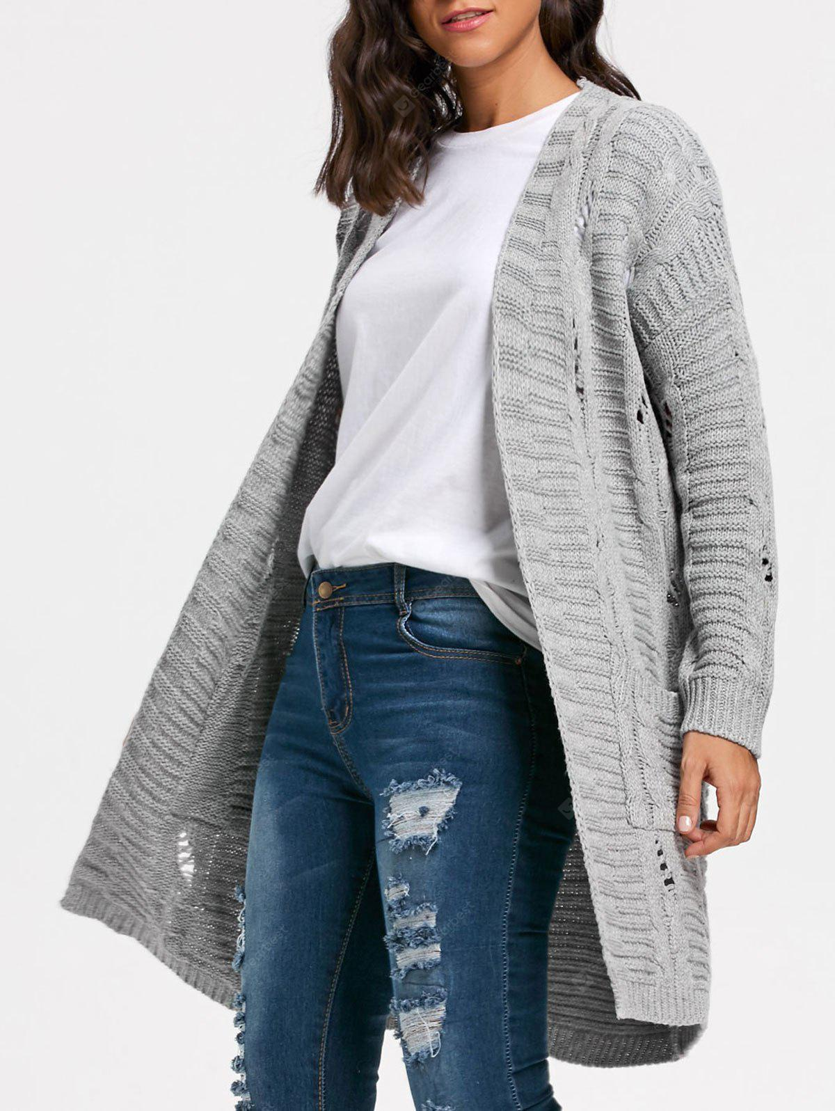 Long Cable Kint Sweater Cardigan