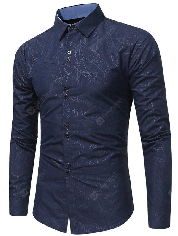 CADETBLUE Turndown Collar Geometric Print Shirt
